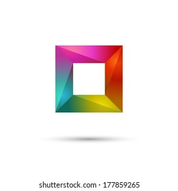 Multicolored frame or square, abstract symbol, eps10