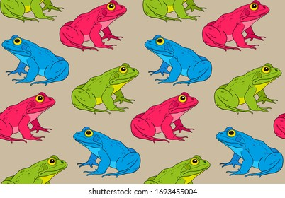 multicolored frogs sitting. vector illustration. seamless pattern