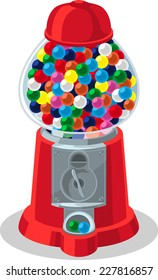 Multicolored full Gumball Machine vector illustration
