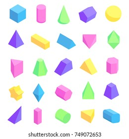 Multicolored geometric shapes depicted on poster, 3d forms of cube, sphere and others on vector illustration isolated on white background
