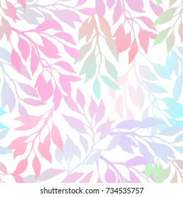 Multicolored gradient leafs and branches on a white background, bright floral pattern, romantic seamless background. Vector illustration.