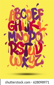 Multicolored graffiti font on a yellow background