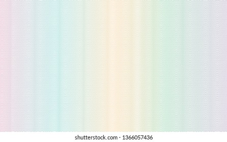 Multicolored guilloche design. Vector abstract striped background. Squiggle thin lines. Ripple subtle curves. Template for watermark, money, banknote, cheque, diploma, certificate, passport. EPS10