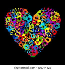 Multicolored Hand Print Heart On A Black Background Vector Illustration