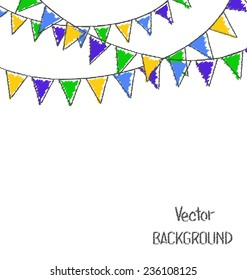 Multicolored hand-drawn buntings garlands in national brazil colors isolated on white background