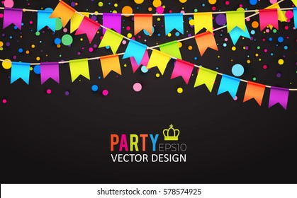 Multicolored Hanging Garlands. Party, Holiday and Sale Banner. Flags and Confetti. Party Space.