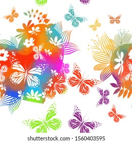 The multi-colored heart with flowers and twigs is abstract. Happy Valentine's Day. Vector seamless background