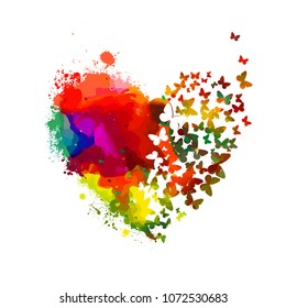 Multicolored heart of paint stains. Vector