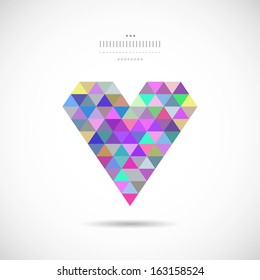 Multicolored heart in vector on a white background