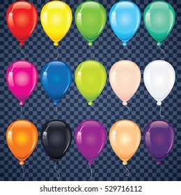 Multicolored Helium Balloons. Isolated Vector Objects. Glossy and Shiny Air Baloons