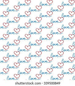 multicolored, horizontal combination of multiple word love of blue colors and red hearts on a white background. New original vector illustration.
