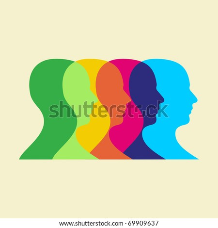 Multicolored human heads interacting. Vector file available.