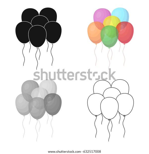 Multicolored inable balls.Party and parties single icon in cartoon style vector symbol stock illustration.