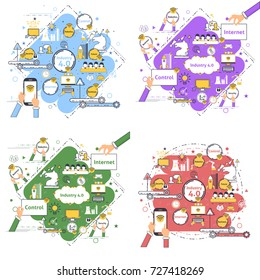 Multicolored Industry 4.0 Modern Thin Lines Icon Presentation Design Set