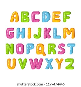 Multicolored jelly alphabet for kids. Colorful letters in cartoon style. Children's font on a white background. Isolated vector objects.