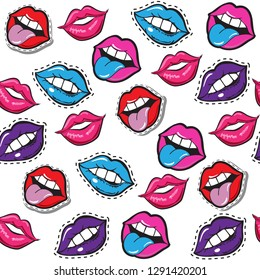 Multicolored lips on a white background seamless pattern