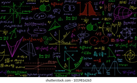 Multicolored math vector seamless pattern with handwritten plots, formulas and calculations