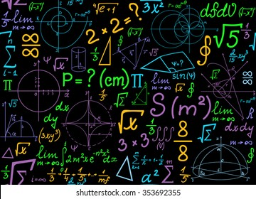 Multicolored mathematical vector seamless pattern with geometrical plots, formulas and calculations. Math colorful endless texture. You can use any color of background