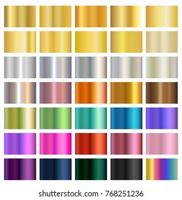 Multicolored metallic gradient backgrounds, metals, silver, gold, bronze, brass, copper, eps10 vector