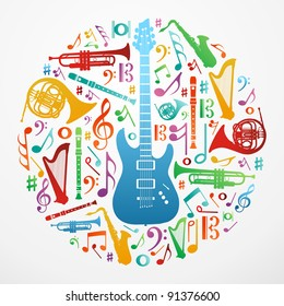 Multicolored music instruments silhouette in circle shape. Vector file available.