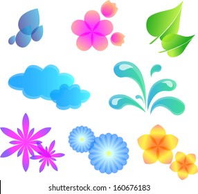 Multicolored nature  set of  vector design elements