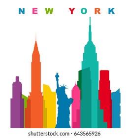 Multicolored new york city. Flat vector illustration