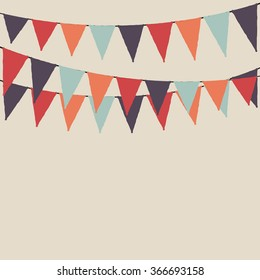 Multicolored party flags. Party background with flags. Vector background.