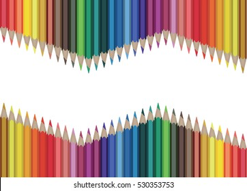 multicolored pencils situated on a both sides isolated on white background. Vector illustration