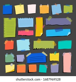 Multicolored pieces paper on gray background. Fashionable set horizontal and vertical stickers for organizing and planning day. Vector illustration. Workflow taking into account multitasking.