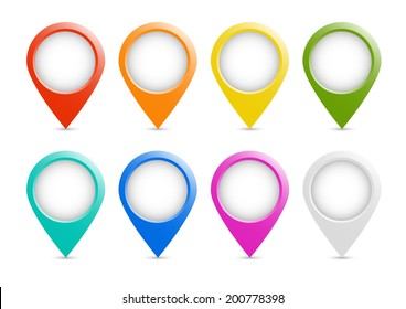 Multicolored place markers