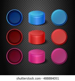 Multicolored plastic bottle caps vector set. Lids mockups for closing illustration