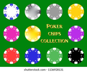 Multicolored poker chips vector set on green isolated background, eps 10.