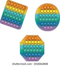 Multicolored Popper Fidget Toys Vector