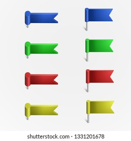 Multi-colored pushpin in the form of a flag on a white background. Pushpin at an angle.