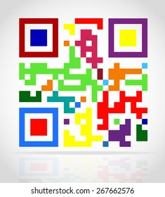 multicolored qr code vector illustration isolated on white background
