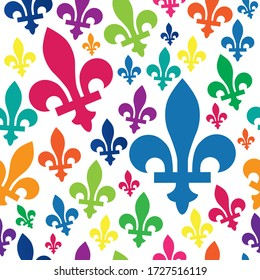 multicolored Quebec emblem icon blue seamless pattern vector