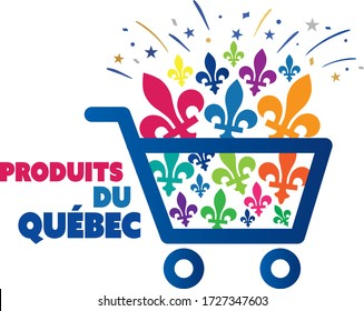 multicolored quebec province of canada emblem local purchase concept illustration