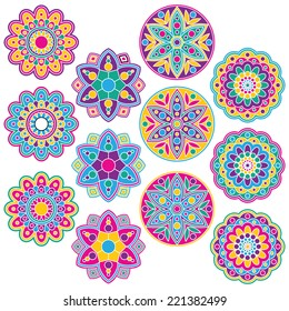 Multi-Colored Rangoli Clip Art Set. Includes 12 colorful geometric flowers graphics created using vector software.