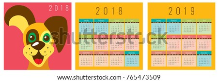 Multicolored Ready Calendars 2018 2019 Pocket Stock Vector Royalty