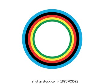 Multi-colored rings on a white background.