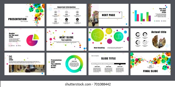 Multicolored round elements on a white background. This template is the best as a business presentation, corporate report, used in marketing and advertising, the annual report, flyer and banner