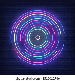 Multicolored round lines neon sign. Music, sound, dj. Night bright advertisement. Vector illustration in neon style for banner, billboard