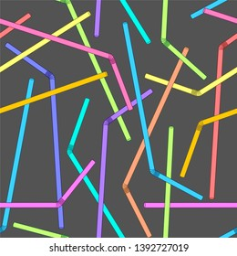 Multicolored seamless vector straws pattern/Sipper background for design, fabric, textile.