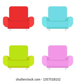 Multicolored set of armchairs. Furniture. Vector illustration. EPS 10.