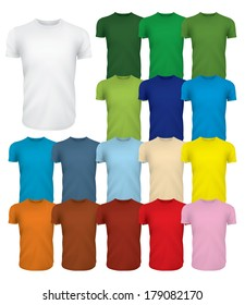 A multicolored set of blank tshirt templates. Change the color easily by changing the background shape.