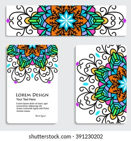 multicolored set of business card and header templates with hand drawn tribal ornament, mandala, for greeting, invitation card, or cover. Vector illustration