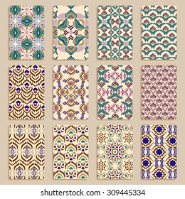 multicolored set of business cards with hand drawn tribal ornament, mandala, for greeting, invitation card, or cover. Vector illustration