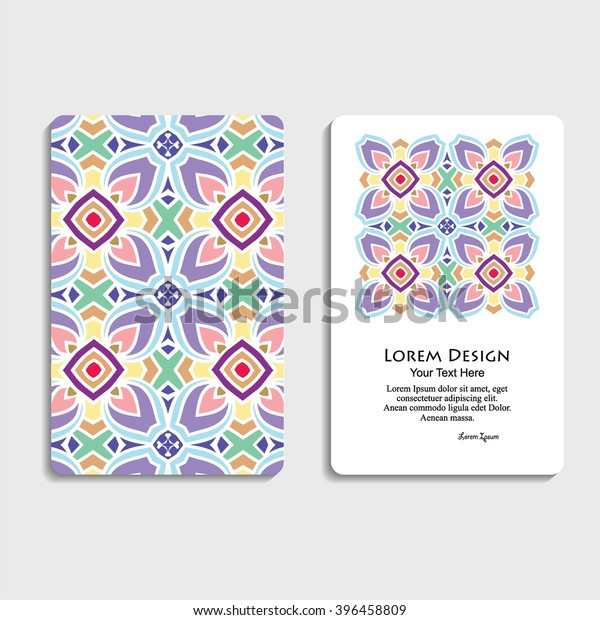 Multicolored Set Business Cards Hand Drawn Stock Vector