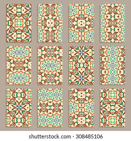 multicolored set of business cards and header templates with hand drawn tribal ornament, mandala, for greeting, invitation card, or cover. Vector illustration