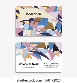 multicolored set of business cards with polygon pattern, for greeting, invitation card, or cover. Vector illustration